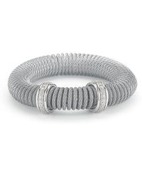 Alor - Micro-cable Pave Diamond Spring Coil Bracelet Gray 0.33tcw - Lyst