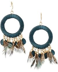 Lydell NYC - Thread Wrapped & Feather Drop Earrings - Lyst