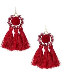 Fragments - Tassel Pompom Drop Earrings - Lyst