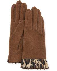Portolano - Cashmere Smart Gloves With Cheetah-print Ruffles - Lyst