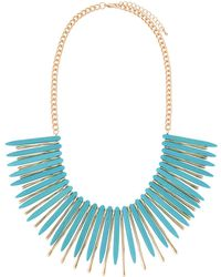 Kenneth Jay Lane - Spiky Bib Necklace Turquoise/gold - Lyst