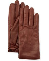 Neiman Marcus - Three-point Leather Gloves W/ Faux-fur Lining - Lyst