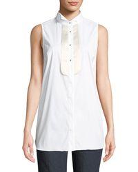 Brunello Cucinelli - Sleeveless Satin Plastron Shirt - Lyst
