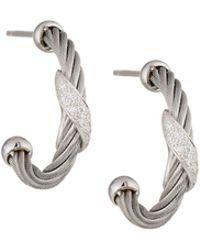 Alor - Classique Gray Steel & 18k Diamond Twist Hoop Earrings - Lyst