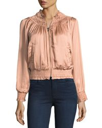 Love Sam - Smocked Floral Thread-work Sateen Bomber Jacket - Lyst