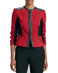 Magaschoni - Textured Jacquard Leather-trim Jacket - Lyst