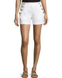 Laundry by Shelli Segal - Sailor-button Linen-blend Shorts - Lyst
