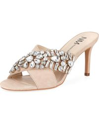 Neiman Marcus - Vibe Jeweled Suede Mule - Lyst