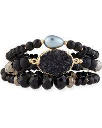 Nakamol - 3-strand Pearl & Druzy Bracelet - Lyst