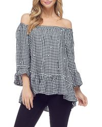 afd20f839a3b Fever - Gingham Pearlescent Off-the-shoulder Top - Lyst