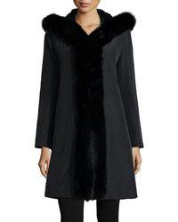 Trilogy - Hooded Reversible Fur-trim Coat - Lyst