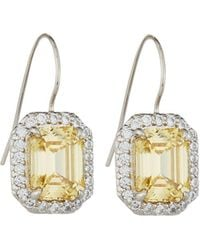 Fantasia by Deserio - Asscher-cut Canary Cz Drop Earrings - Lyst