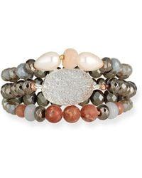 Nakamol - 3-strand Pearl & Druzy Bracelet Neutral - Lyst