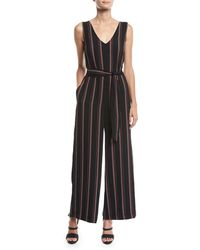 Max Studio - Sleeveless Striped Belted Jumpsuit - Lyst