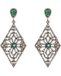 Bavna - Emerald & Diamond Kite Drop Earrings - Lyst