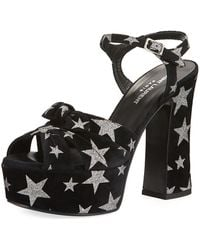 Saint Laurent - Metallic Star Suede Platform Sandal - Lyst