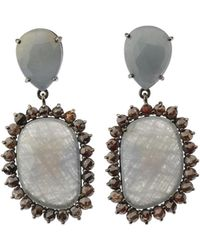 Bavna - Silver Freeform Drop Earrings With Multicolor Sapphire & Diamonds - Lyst