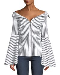 89f4cb116a5 Caroline Constas - Persephone Off-the-shoulder Button-front Striped Poplin  Top -