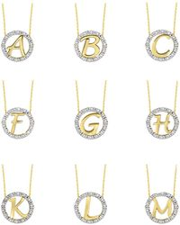 KC Designs - 14k Yellow Gold Diamond Initial Necklace - Lyst