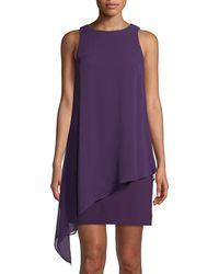 Tahari - Sleeveless Draped Chiffon Dress - Lyst