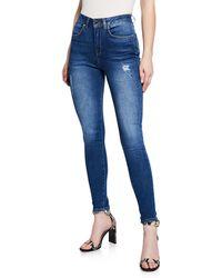 Karen Millen - Mid-rise Frayed Skinny Jeans - Lyst