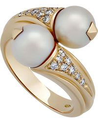 BVLGARI - Estate 18k Pearl & Diamond Crossover Ring Size 6.25 - Lyst