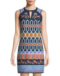 Laundry by Shelli Segal - Geometric-canvas High-neck Mini Dress - Lyst
