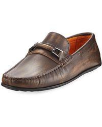 Donald J Pliner - Imari Distressed Leather Loafer - Lyst