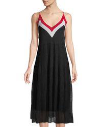 Catherine Malandrino - V-neck Colorblocked Midii Dress - Lyst