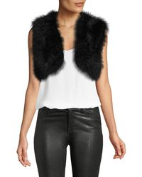 Adrienne Landau - Marabou-feather Cropped Vest - Lyst