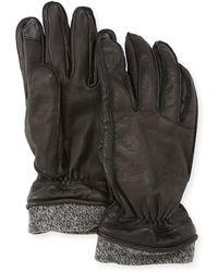 Neiman Marcus - Leather Tech Gloves W/wool Cuff - Lyst