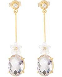 Indulgems - Linear Bar Drop Earrings W/ Flower - Lyst