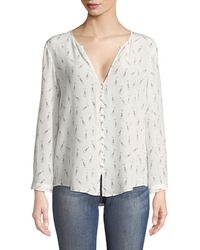 Joie - Purine Champagne-print Silk Blouse - Lyst