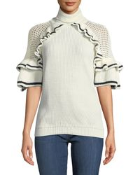Haute Rogue - Lola Turtleneck Short-sleeve Ruffle Sweater - Lyst