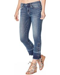 Nicole Miller - Mid-rise Straight-leg Cropped Gaslight Jeans With Buttons & Raw Hem - Lyst