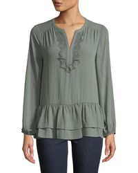 Pleione - Long-sleeve Lace-trim Tiered Peasant Blouse - Lyst
