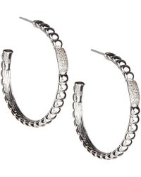 John Hardy Bedeg Pave Diamond Hoop Earrings Lyst