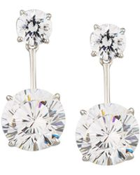 Fantasia by Deserio - Round Cz Crystal Double-drop Earrings - Lyst