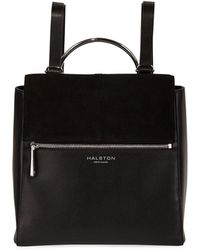 Halston - Leather Flap-top Medium Backpack - Lyst