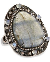 Bavna - Silver Oval Ring With Labradorite & Diamonds - Lyst