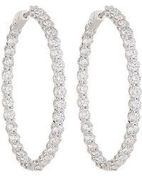 Neiman Marcus - 18k White Gold Diamond Hoop Earrings 6.0tcw - Lyst