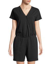 Neiman Marcus - Short-sleeve V-neck Romper - Lyst