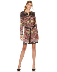 Laundry by Shelli Segal - Floral Printed Satin Shift Dress - Lyst