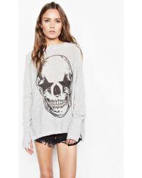 Lauren Moshi - Hollis Star Eye Skull L/s Cashmere Pullover Sweater W/thumbholes - Lyst
