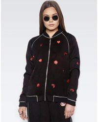 Lauren Moshi | Paris Ladybug Love Kiss L/s Bomber Jacket W/piping | Lyst