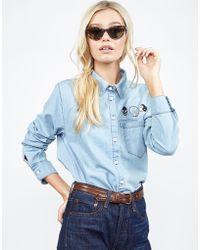 Lauren Moshi - Sloane Rott Rock Patches L/s Button Up Denim Shirt - Lyst