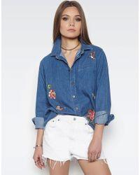 Lauren Moshi - Sloane Garden Party L/s Button Up Denim Shirt - Lyst