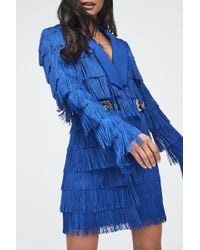 Lavish Alice - Cobalt Blue Fringe Tailored Blazer Dress - Lyst