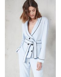 Lavish Alice - Baby Blue Pyjama Style Double Breasted Tie Belt Shirt - Lyst