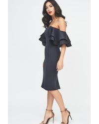 Lavish Alice - Signature Double Frill Sleeve Scuba Dress - Lyst
